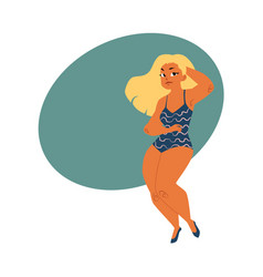 Plump plus size blond curvy woman girl in vector
