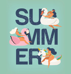 poster summer card with girl vector image