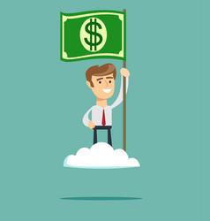 power of money proud man raising a dollar flag on vector image