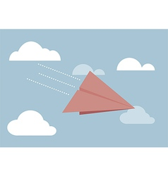Red paper airplane flying in sky vector image
