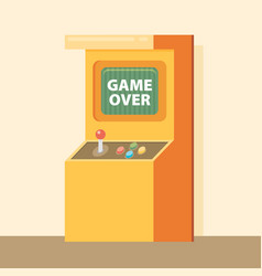 retro arcade machine with game over message flat vector image