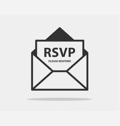 rsvp icon please respond letter in envelop vector image