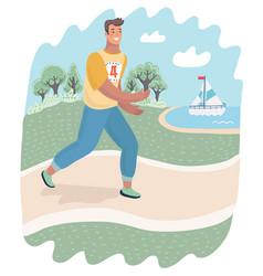 Runner or jogger running outdoor on nature vector