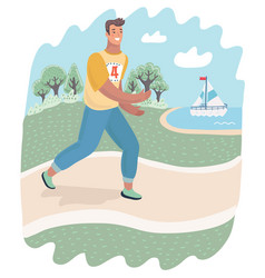 Runner or jogger running outdoor on the nature vector