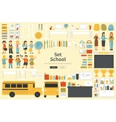 School Big Collection in flat design concept vector image