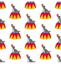seal in circus pattern vector image