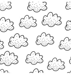 seamless pattern with cute black doodle clouds on vector image