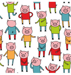 seamless pattern with doodle pigs in colorful vector image