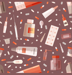 Seamless pattern with drugs or medications vector