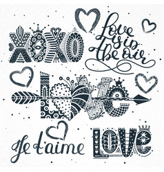 Set love quotes hand drawn lettering vector