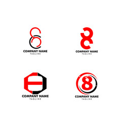 set number eight logo logo 8 template vector image