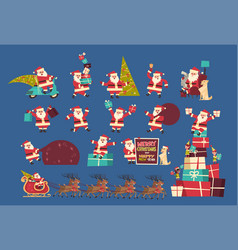 set of santa claus with presents merry christmas vector image
