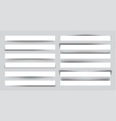 set white blank paper scraps with shadows page vector image