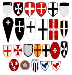 Shields medieval knights vector