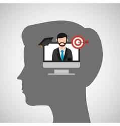 Silhouette head boy laptop tag education online vector