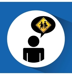 Silhouette man road sign school zone icon vector