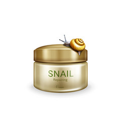 Skincare repairing cream with snail mucin vector