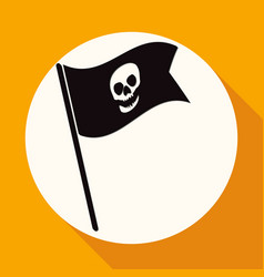 skull icon on white circle with a long shadow vector image