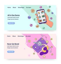 smartphone website landing page template vector image