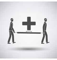 Soccer medical staff carrying stretcher icon vector