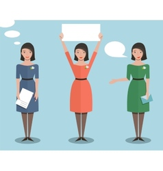 Standing Office Manager Woman Talking and Showing vector