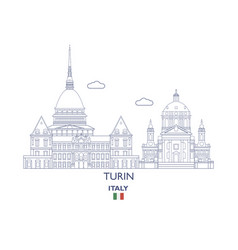 turin city skyline vector image