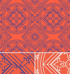 vintage abstract floral orange seamless pattern vector image