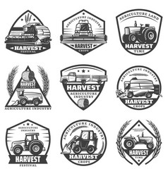 Vintage agricultural machinery labels set vector