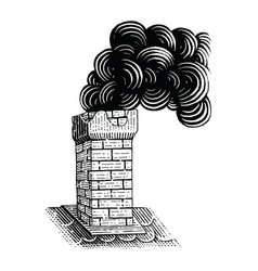 Vintage chimney hand drawing engraving black and vector