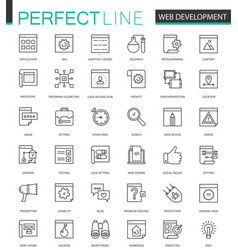 web development thin line icons set seo vector image