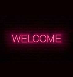 welcome red neon inscription vector image