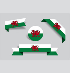 Welsh flag stickers and labels vector