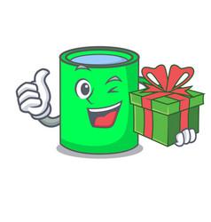 with gift mug mascot cartoon style vector image