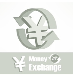 Yen symbol in grey vector image