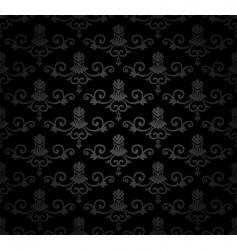 black seamless vintage floral pattern vector image