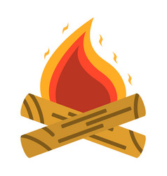 Campfire bonfire icon tourism equipment vector