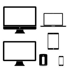 computer device icons black white silhouettes vector image vector image