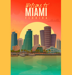 evening miami poster vector image vector image