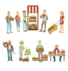 Farm Vegetables Market And People Farming vector image vector image