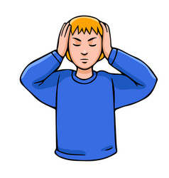 man closing his ears vector image