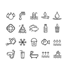 pool and water signs black thin line icon set vector image vector image