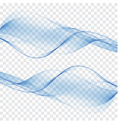 set abstract color wave smoke transparent smooth vector image vector image