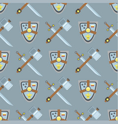 sword and shield seamless pattern protection vector image