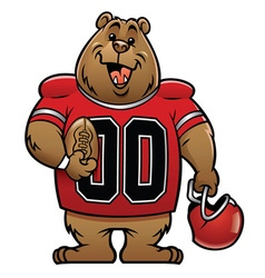bear cartoon football mascot vector image vector image