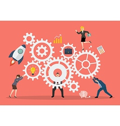 Business teamwork concept with mechanism system vector image