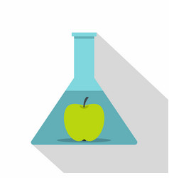 green apple in glass test flask icon flat style vector image vector image