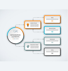 infographic flow chart with 4 options vector image vector image