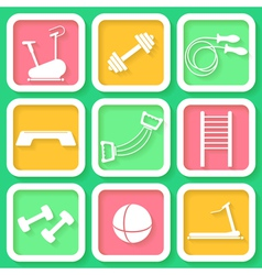 Set of 9 bright icons of the fintess club equipmen vector image vector image