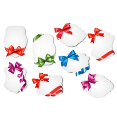 Set of gift cards with colorful gift bows with vector image