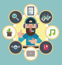 technological guru surrounded by icons vector image